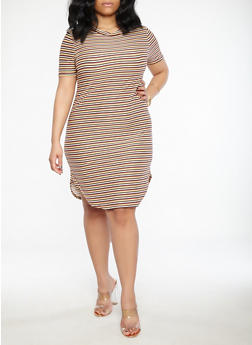 Plus Size Striped T Shirt Dress - 1390038348971