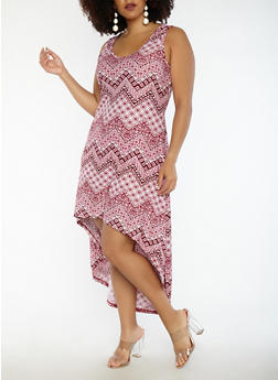 Plus Size Printed High Low Dress - RED - 1390038348982