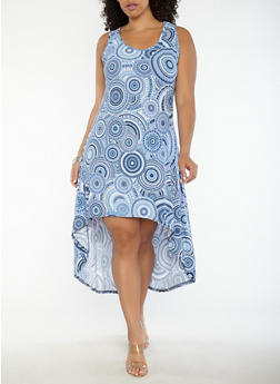 Plus Size Printed High Low Dress - BLUE - 1390038348984