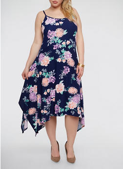 Plus Size Soft Knit Floral Skater Dress - 1390038348988