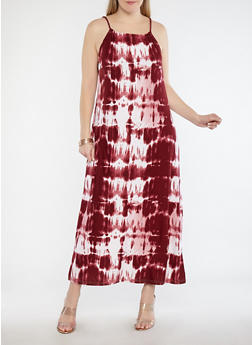 Plus Size Tie Dye Maxi Dress - 1390038348990