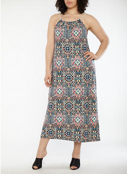 Plus Size Printed Maxi Dress with Rope Straps - 1390038348991