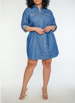 Plus Size Button Front Denim Dress - 1390038349723