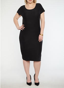 Plus Size Soft Knit T Shirt Dress - BLACK - 1390038349801