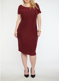 Plus Size Soft Knit T Shirt Dress - 1390038349801