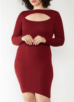 Plus Size Keyhole Neck Sweater Dress - 1390051060001