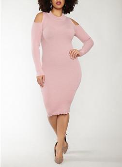 Plus Size Cold Shoulder Sweater Dress - 1390051060002
