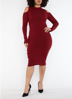 Plus Size Cold Shoulder Sweater Dress - 1390051060002