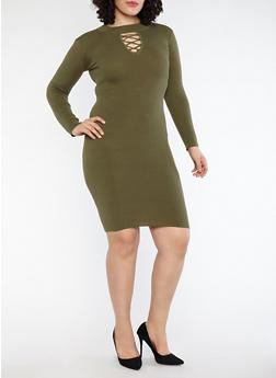 Plus Size Rib Knit Midi Sweater Dress - 1390051060003