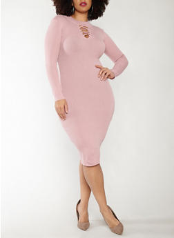 Plus Size Rib Knit Midi Sweater Dress - 1390051060003