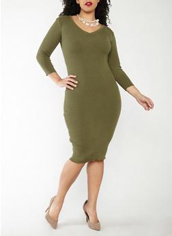 Plus Size Rib Knit Midi Sweater Dress - 1390051060004