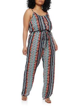 Plus Size Border Print Jumpsuit - 1390051061082