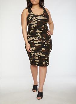 Plus Size Soft Knit Camo Dress - 1390051061477
