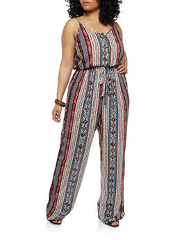 Plus Size Printed Wide Leg Jumpsuit - 1390051062082