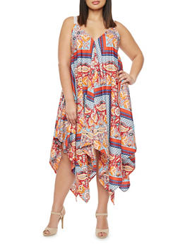 Plus Size Printed Shift Dress with Eyelet Straps and Asymmetrical Hem - 1390051062695