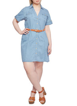 Plus Size Denim Shirt Dress with Short Sleeves and Belt - 1390051062704