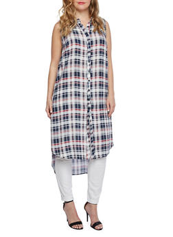 Plus Size Sleeveless Plaid High Low Maxi Shirt with Buttoned Front - 1390051062722
