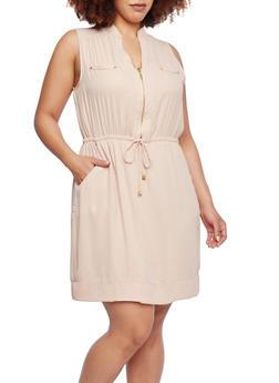 Plus Size Sleeveless Dress with Drawstring Waist - 1390051062753