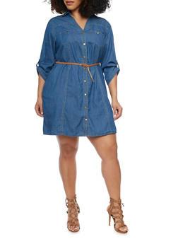 Plus Size Denim Button Up Shirt Dress with Braided Belt - MEDIUM WASH - 1390051062759