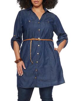 Plus Size Denim Button Up Shirt Dress with Braided Belt - DARK WASH - 1390051062759