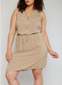 Plus Size Mid Zip Cinched Waist Dress - 1390051062930