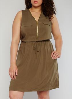 Plus Size Mid Zip Cinched Waist Dress - OLIVE - 1390051062930