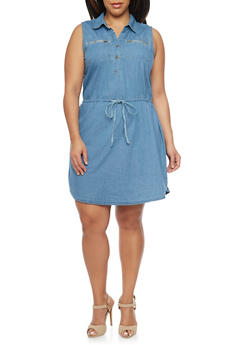 Plus Size Sleeveless Denim Shirt Dress with Tie Waist - 1390051062934