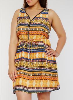 Plus Size Printed Zip Front Skater Dress - ORANGE - 1390051062971