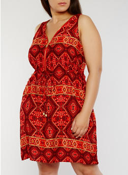 Plus Size Printed Zip Front Skater Dress - 1390051062971