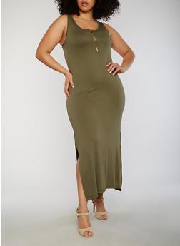 Plus Size Sleeveless Zip Front Maxi Dress - OLIVE - 1390051062983