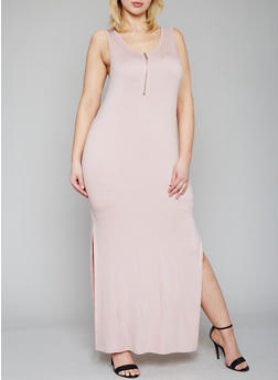 Plus Size Sleeveless Zip Front Maxi Dress - 1390051062983