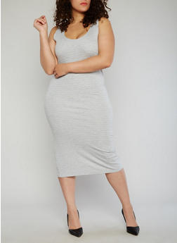 Plus Size Striped Midi Dress - 1390051062984