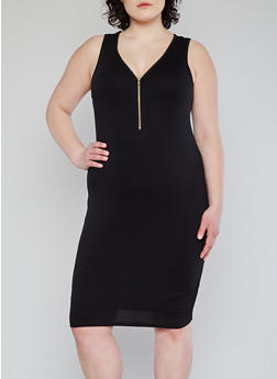 Plus Size Zip Front Mid Length Bodycon Dress - BLACK - 1390051062985