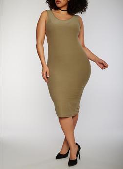 Plus Size Sleeveless Midi Bodycon Tank Dress - OLIVE - 1390051062991