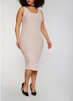 Plus Size Sleeveless Midi Bodycon Tank Dress - 1390051062991