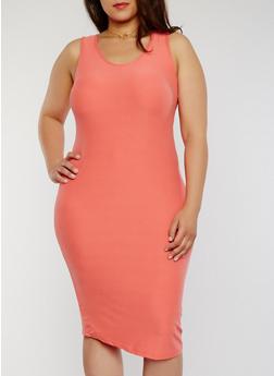 Plus Size Sleeveless Midi Bodycon Tank Dress - 1390051062991