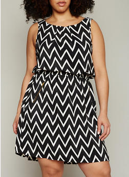 Plus Size Sleeveless Printed Dress with Zipper Accents - BLACK - 1390051063035