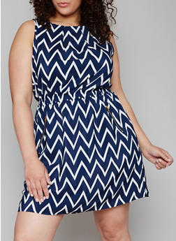 Plus Size Sleeveless Printed Dress with Zipper Accents - NAVY - 1390051063035