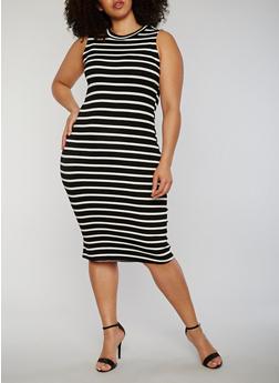Plus Size Striped Rib Knit Midi Dress - 1390051063036