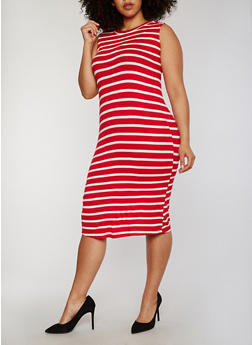 Plus Size Striped Rib Knit Midi Dress - 1390051063036