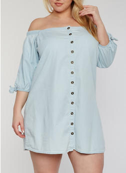 Plus Size Off the Shoulder Denim Button Front Dress - 1390051063040