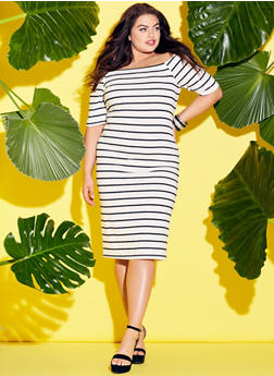 Plus Size Off The Shoulder Striped Bodycon Dress - WHT-BLK - 1390051063049