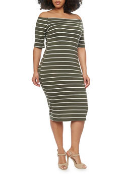Plus Size Off The Shoulder Striped Bodycon Dress - OLIVE - 1390051063049