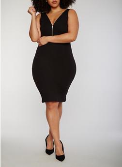 Plus Size Zip Front Rib Knit Midi Dress - 1390051063051