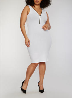 Plus Size Zip Front Rib Knit Midi Dress - WHITE - 1390051063051