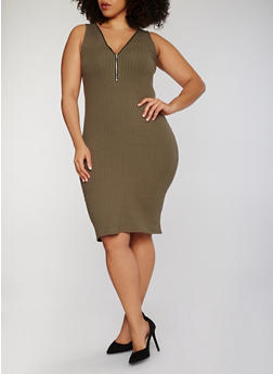 Plus Size Zip Front Rib Knit Midi Dress - 1390051063051