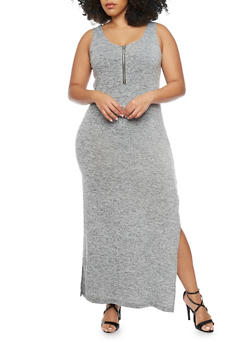 Plus Size Sleeveless Bodycon Dress with Side Slits - GRAY - 1390051063060