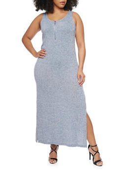 Plus Size Sleeveless Bodycon Dress with Side Slits - DENIM - 1390051063060
