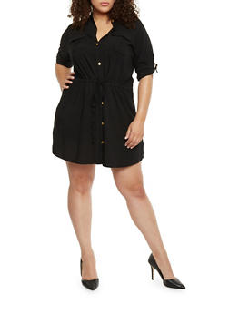 Plus Size Rolled Cuff Shirt Dress - BLACK - 1390051063061