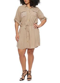 Plus Size Rolled Cuff Shirt Dress - 1390051063061